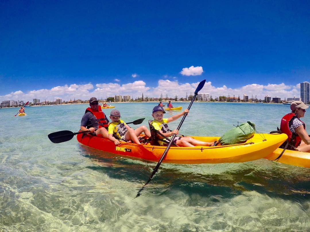 Kayaking to the Snorkelling Reef at Wave Break Island