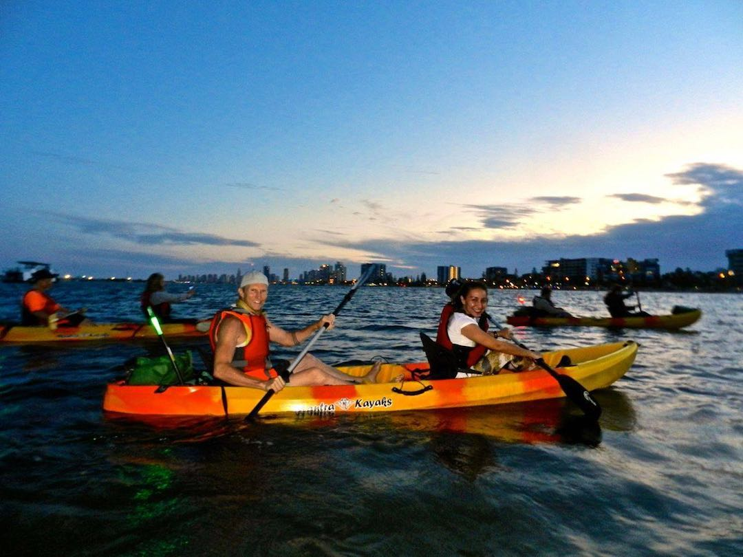 Enjoying the night's peacefulness with Seaway Kayaking tours, Gold Coast