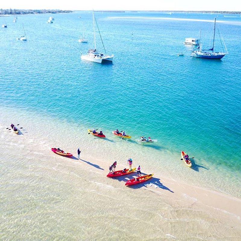 Kayaking to the Snorkelling Reef at Wave Break Island